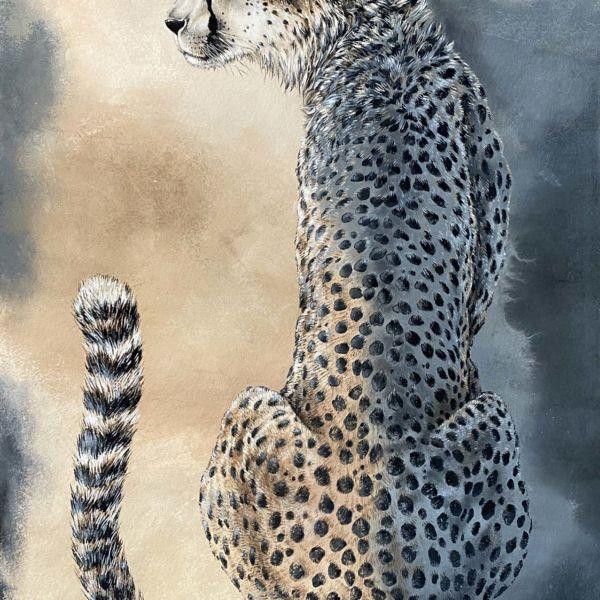 Agnès B. Davis – Blue Cheetah – acrylique sur bâche – 140 x 90 cm