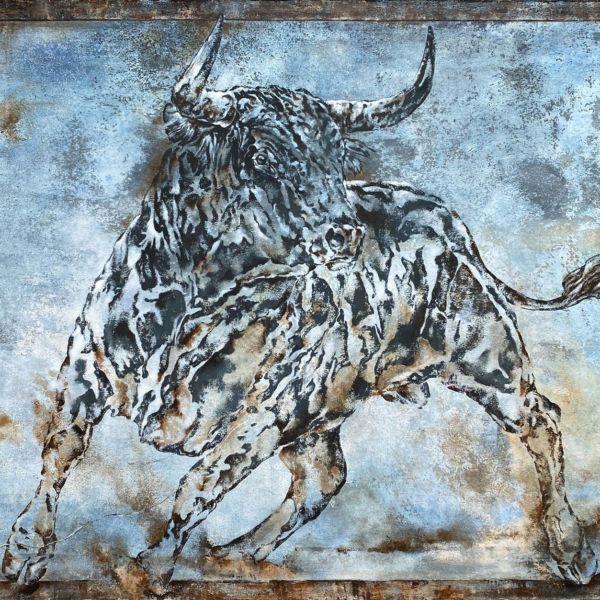 Agnès B. Davis – Blue Toro industriel – acrylique sur toile – 100 x 160 cm