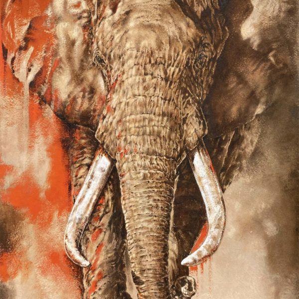 Agnès B. Davis – Fire in the Dust – acrylique sur bâche – 170 x 99 cm