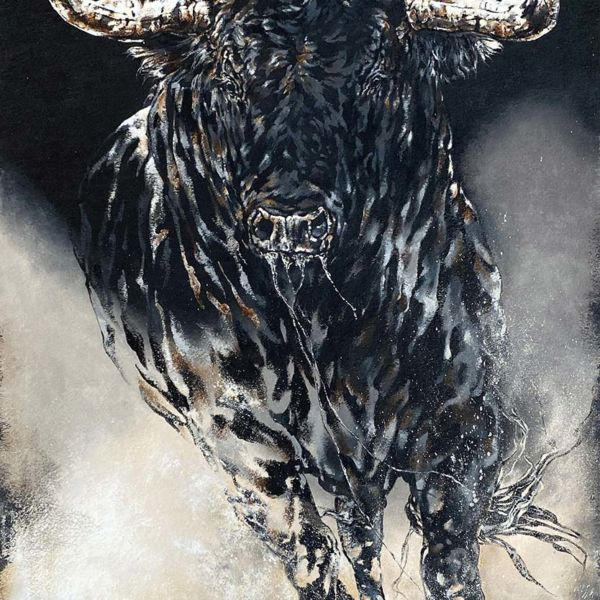 Agnès B Davis – Black Bull – acrylic on canvas – 170 x 100 cm