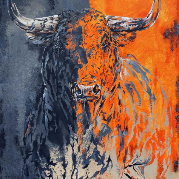 Agnès B. Davis – Toro Fuego industriel – acylique sur bâche – 100 x 81 cm
