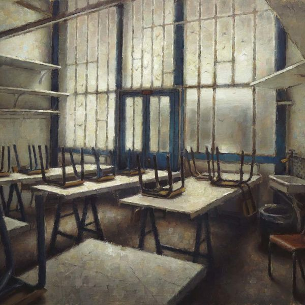 Nicolas Martin – La Salle de Classe – oil on canvas – 46 x 61 cm – 3000 €