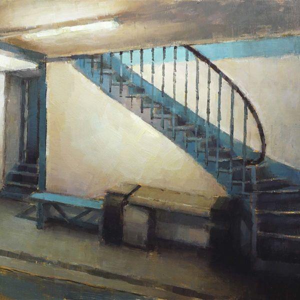 Nicolas Martin – L'escalier Bleu – Huile sur bois – 23 x 30 cm – 1000 €