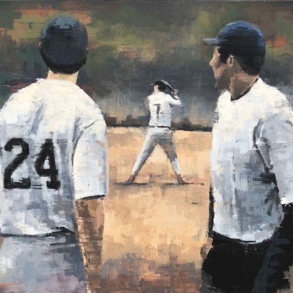 Charles Ducroux – Baseball – New York – huile sur toile – 54 x 65 cm – 1800 €