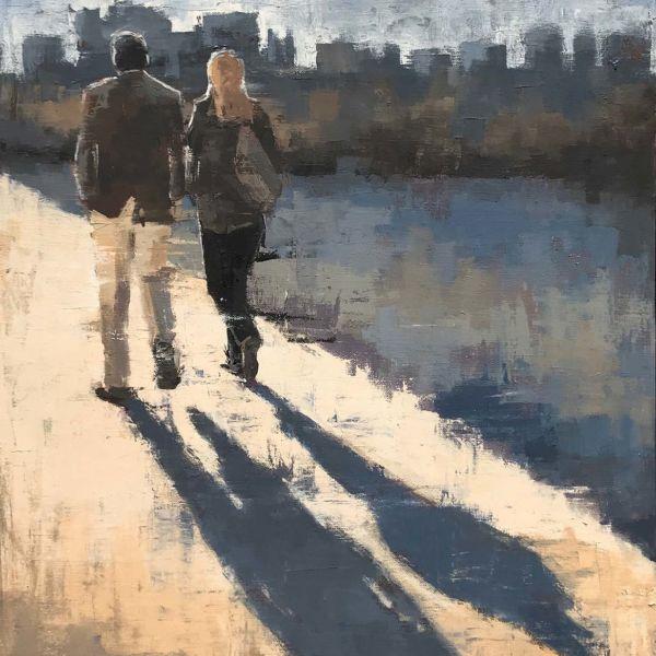 Charles Ducroux – Couple – Chicago – huile sur toile – 55 x 45 cm – sold