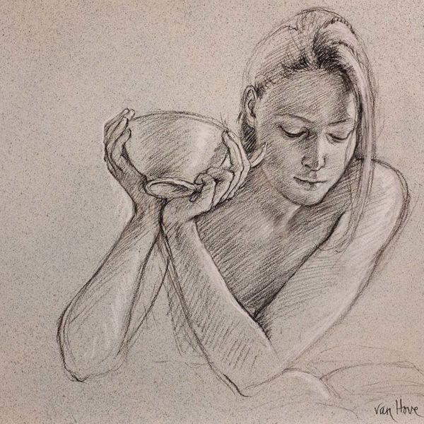 Francine Van Hove – Eloise au bol – Pierre noire rehauts de blanc – 50 x 66 cm – 2000 €