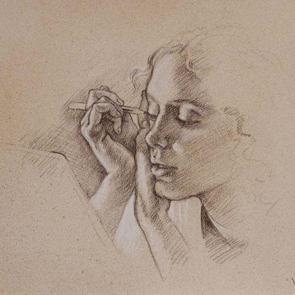 Francine Van Hove – L'oeil de biche – Pierre noire rehauts de blanc – 35 x 45 cm – 1600 €
