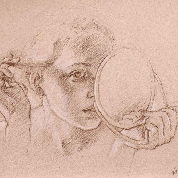 Francine Van Hove – La mèche – Pierre noire rehauts de blanc – 35 x 45 cm – 1600 €
