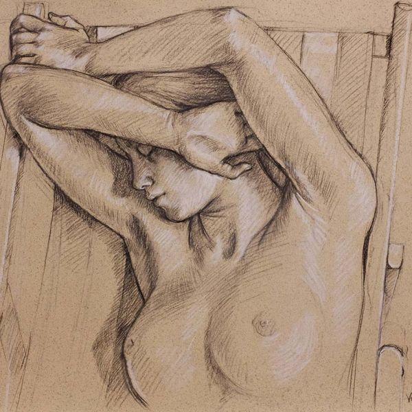 Francine Van Hove – La sieste de Julia – Pierre noire rehauts de blanc – 50 x 65 cm – 2000 €