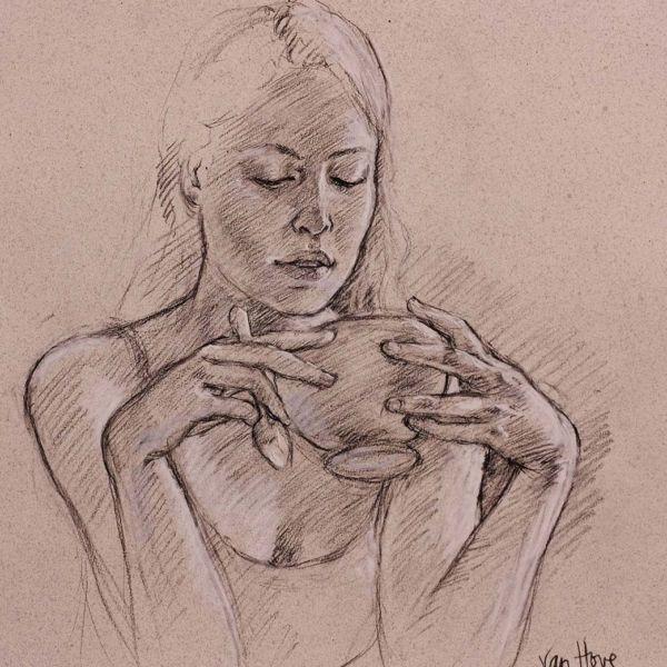 Francine Van Hove – Le bol a deux mains – Pierre noire rehauts de blanc – 50 x 45 cm – 1800 €
