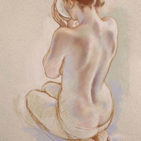 Francine Van Hove – Le dos de Caro – Pastel – 77 x 57 cm – sold