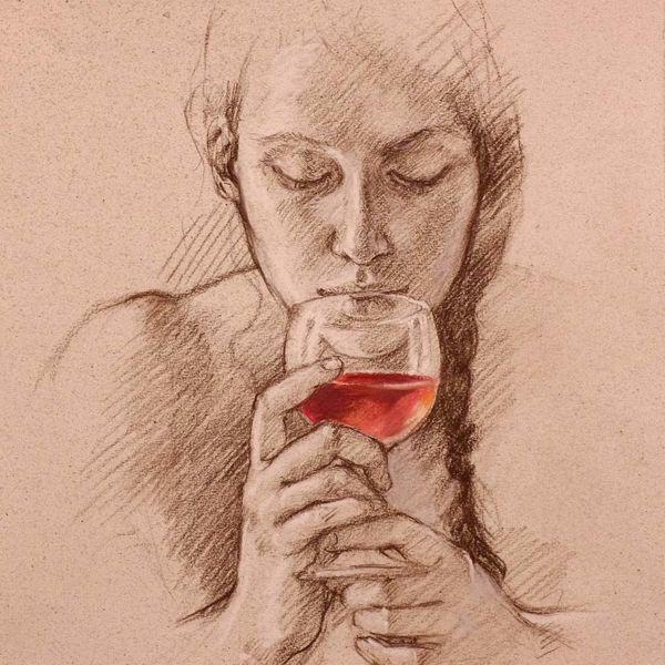 Francine Van Hove – Le verre de vin – Pierre noire rehauts de pastel – 45 x 35 cm – sold