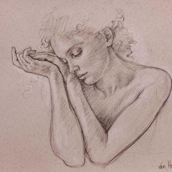 Francine Van Hove – Mains jointes – Pierre noire rehauts de blanc – 45 x 50 cm – sold