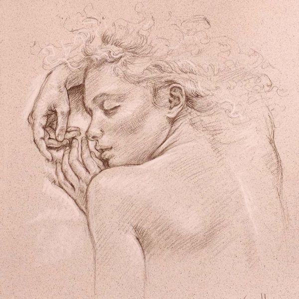 Francine Van Hove – Petit Soleil couchant – Pierre noire rehauts de blanc – 50 x 45 cm – 1800 €