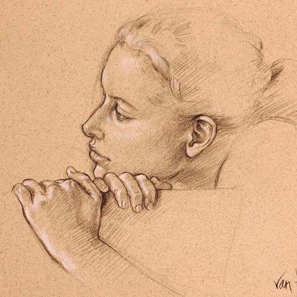 Francine Van Hove – Sur un banc – Pierre noire rehauts de blanc – 35 x 45 cm – 1600 €
