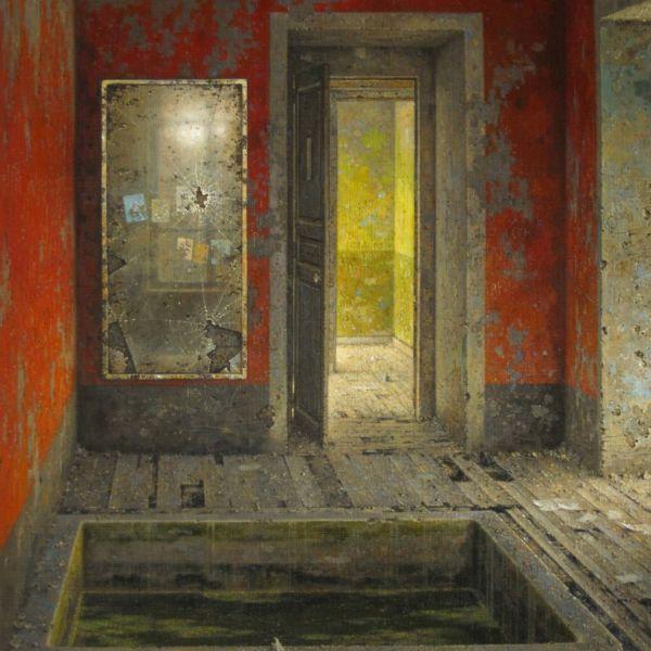 Christian Benoist – Mur rouge au miroir – huile sur toile – 92 x 72 cm