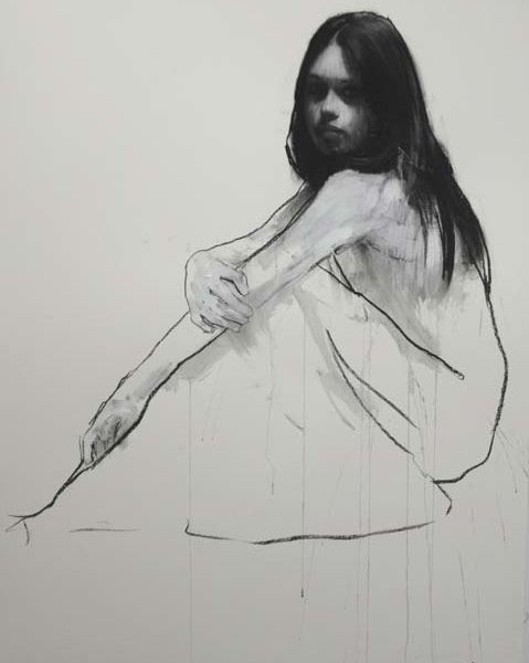 Mark Demsteader – Holly seated 1 – pastel and collage – 88 x 115 cm – sold
