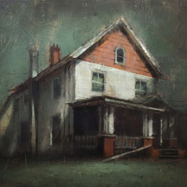 Nicolas Martin – Red and white old House – oil on panel – 22,5 x 30,5 cm – 1200 €