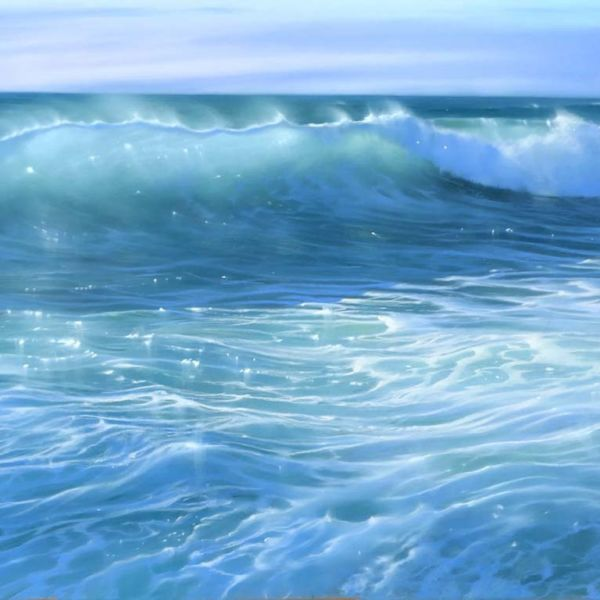 Nicole Stamatakis – Anglet, Plage de la Marinella en Août – pastel on paper – 44 x 94 cm – 1800 €