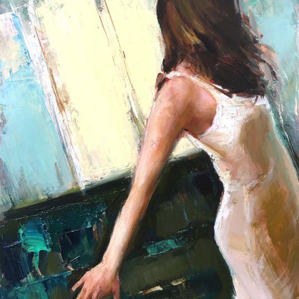 Olga Krimon – Askew – oil on wood – 36 x 28 cm – 1700 €