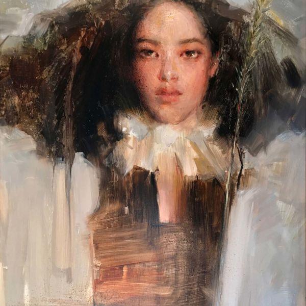 Olga Krimon – She – huile sur bois – 60 x 45 cm – 3500 €