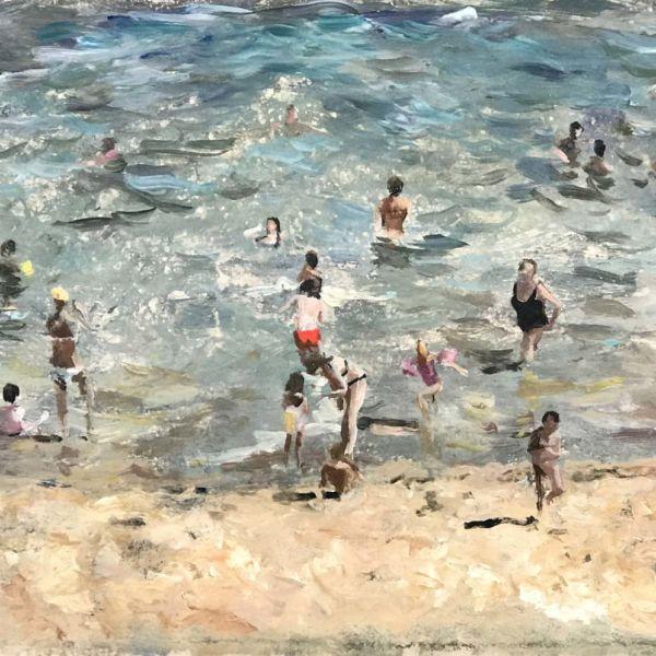 Robin Goldring – La grande plage de Biarritz – huile sur film adhésif marouflé sur bois – 20 x 40 cm – 950 €
