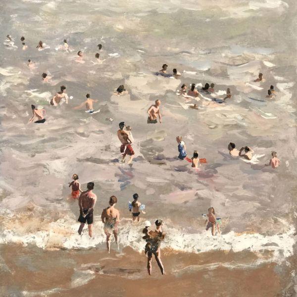 Robin Goldring – La grande plage de Biarritz – huile sur film adhésif marouflé sur bois – 30 x 30 cm – 1050 €