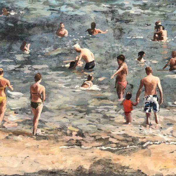 Robin Goldring – La grande plage de Biarritz – huile sur film adhésif marouflé sur bois – 30 x 35 cm – 1200 €