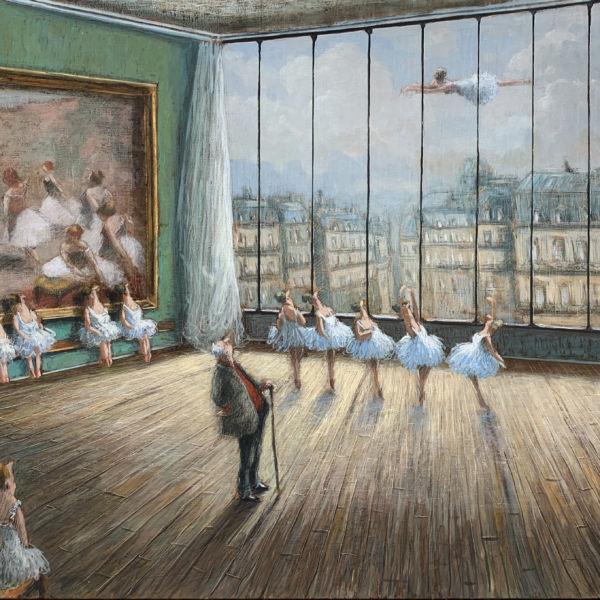 Thomas Bossard - Cours de danse - huile sur toile - 89 x 116 cm - sold