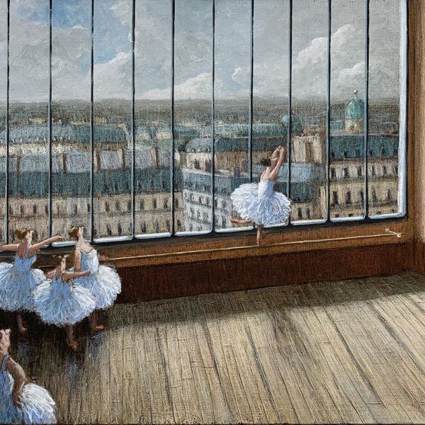 Thomas Bossard - Danse avec vue - huile sur toile - 81 x 116 cm - sold