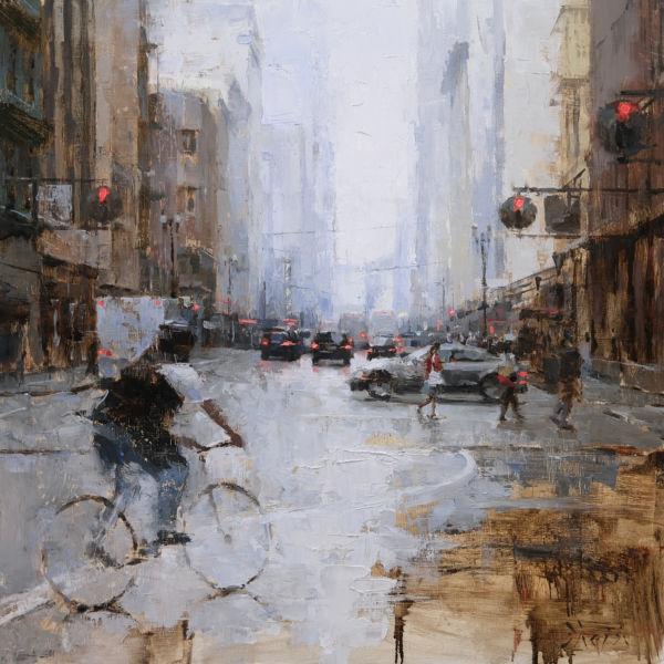 Jacob Dhein - Afternoon in San Francisco - huile sur bois - 60 x 60 cm - vendu