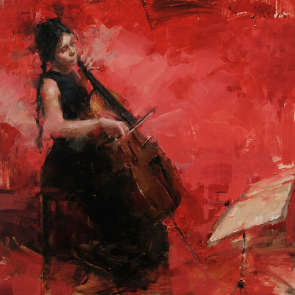 Jacob Dhein - Musician in red - huile sur bois - 60 x 60 cm - 4200 €