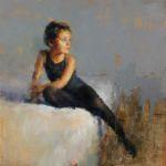 Maria Fernandez - Petite fille - huile sur bois - 50 x 50 cm - 3200 €