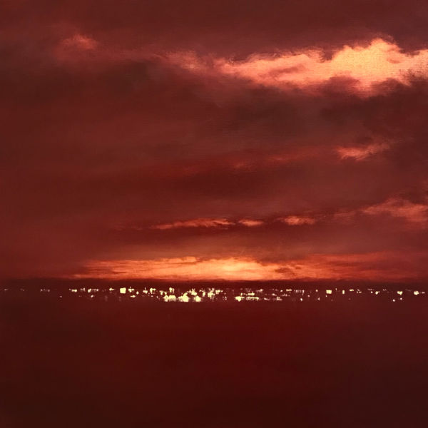 Robert Wellings - Distant Lights - Red Evening - oil on linen -61 x 61 cm - 3900 €