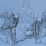 Shane Wolf - Xavier fusain, sanguine, craie blanche sur papier Canson Mi-Teintes - 30 x 40 cm - 900 €