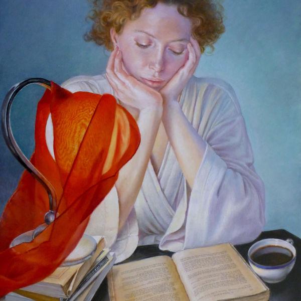 Francine Van Hove - Le lfoulard rouge - huile sur toile - 55 x 46 cm