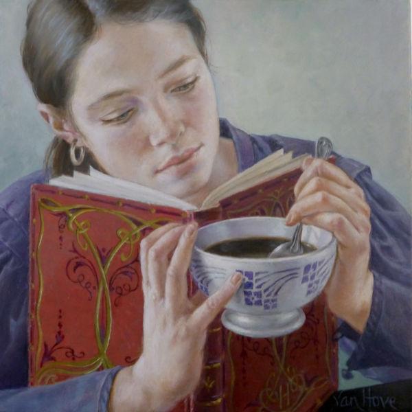 Francine Van Hove - Le livre rouge - huile sur toile - 30 x 30 cm