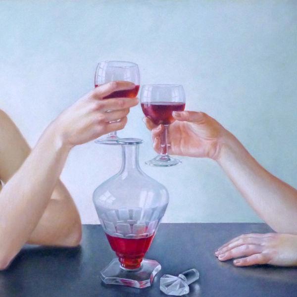 Francine Van Hove - Trinquons ! - huile sur toile - 40 x 90 cm