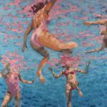 Luc Lavenseau - La piscine - huile sur toile - 65 x 92 cm - 2600 €