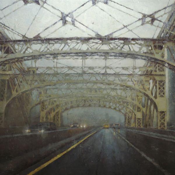 Nicolas Martin - Under the bridge - huile sur toile de lin marouflée sur bois - 46 x 61 cm - 3300 €