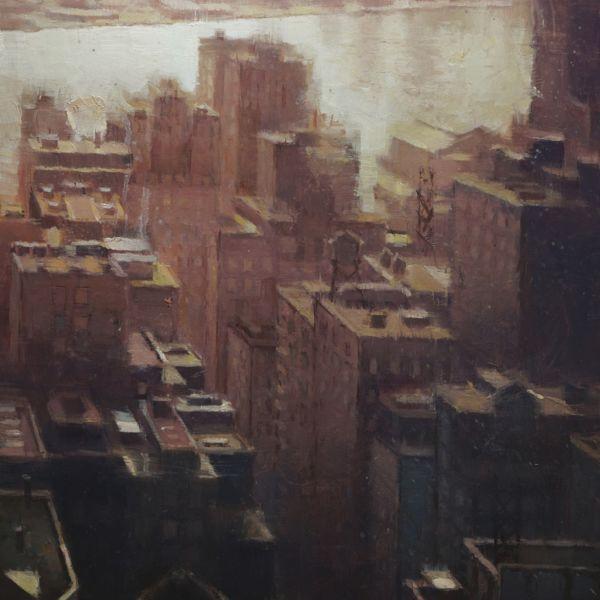 Nicolas Martin - Summer in the city II - huile sur toile de lin marouflée sur bois - 40 x 30 cm - 2300 €