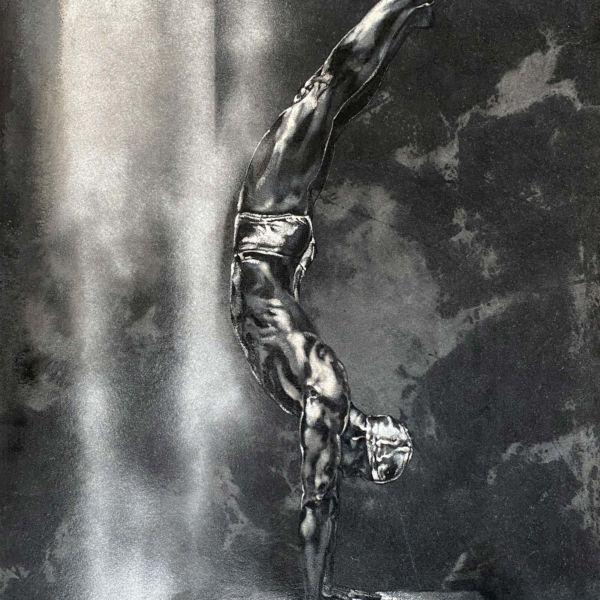Agnès B Davis – Le plongeur – acrylique sur toile – 98 x 75 cm