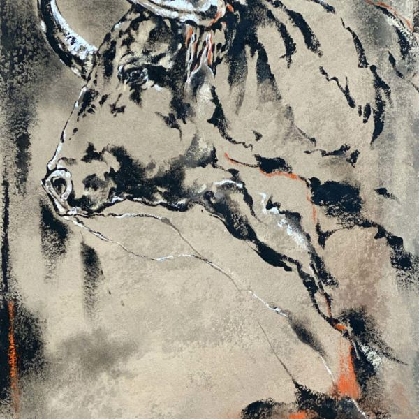 Agnès B Davis – Tête de taureau – acrylique sur toile – 85 x 50 cm