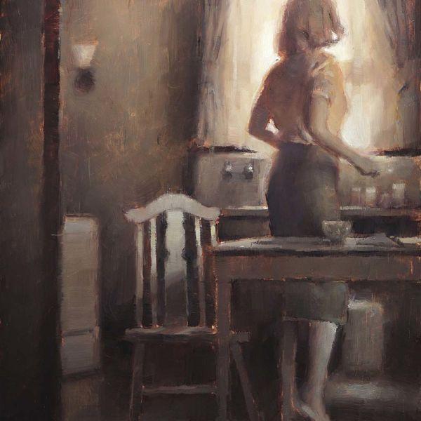 Nicolas Martin – Le Petit déjeuner – Huile sur bois – 30 x 23 cm – 1000 €