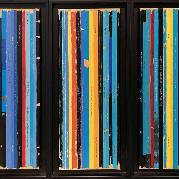 Didier Delgado – Bande-son – acrylique sur toile – triptyque (60 x 20 cm) x 3 – 1600 €
