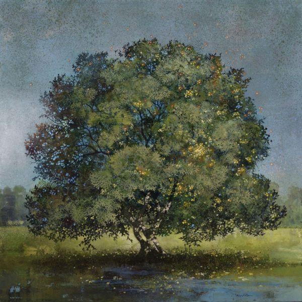 Eric Roux Fontaine – Equinoxe – résine, piments, acrylique – 120 x 120 cm