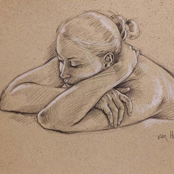 Francine Van Hove – Dans le Coussin de ses bras – Pierre noire rehauts de blanc – 50 x 65 cm – vendu