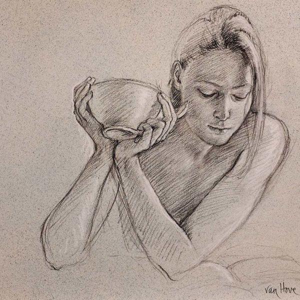 Francine Van Hove – Eloïse au bol – Pierre noire rehauts de blanc – 50 x 66 cm – 2000 €