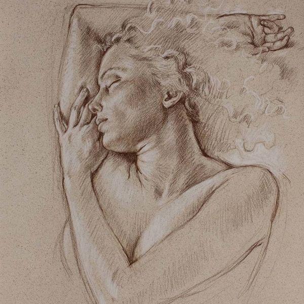 Francine Van Hove – Grand soleil couchant – Pierre noire rehauts de blanc – 76 x 57 cm – 2500 €