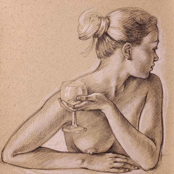 Francine Van Hove – Julia au verre – Pierre noire rehauts de blanc – 65 x 50 cm – vendu